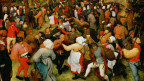 Das Gemälde zeigt rund 100 Männer und Frauen aus dem einfachen Volk, die in verschiedenen Szenen ausgelassen tanzen, trinken und musizieren
