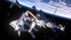 Illustration von Raumschiff und Raumstation im Weltall, im Hintergrund Planet Erde