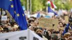 Eine demonstrierende Menge mit Schildern und Fahnen