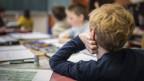 Blick in ein Klassenzimmer, im Vordergrund ein Junge von hinten, der den Kopf auf die Hand stützt