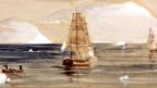 Zeichnung aus dem 19. Jahrhundert von Schiffen bei einer Polar-Expedition