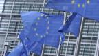 EU-Fahne vor dem Hauptgebäude in Brüssel