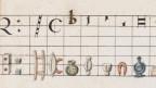 Alte Musiknoten mit Raster, Punkten, Linien und alten Küchengeräten
