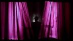 Rosaroter Vorhang, hinter dem ein Schatten in menschenähnlicher Postur erkennbar ist.
