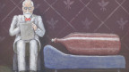 Illustration von einer Weinflasche und einem älteren Herrn