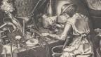 Stich Pieter Breugels, Mann an einem Tisch sitzend mit Utensilien