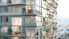 Eine Visualisierung eines Holz-Hochhauses (Nahaufnahme der Wohnungen)