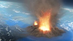 Illustration eines Supervulkans, vom All aus
