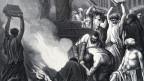 Antikes Bild in schwarz- weiss mit vielen griechischen Menschen, die Bücher in ein Feuer werfen