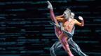 Zwei Balletttänzer: ein Mann und eine Frau während der Aufführung.