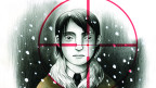 Man sieht ein Comic der italienischen Zeichnerin Gabriella Giandelli, das einen Jungen in einem Fadenkreuz zeigt.