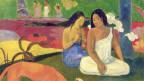 Gemälde: Zwei Frauen in einer bunten Landschaft.