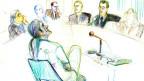 Zeichnung von Marco Camenisch vor Gericht.