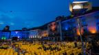 Die Piazza Grande in Locarno bei Nacht.