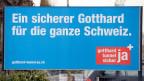 Abstimmungsplakat wirbt für eine zweite Röhre am Gotthard-Tunnel.