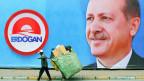 Wandmaleri für den Wahlkampf des türkischen Präsidenten Recep Tayyip Erdogan.