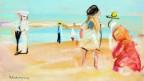 Ein Gemälde mit Menschen an einem Strand