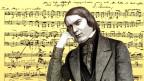 Historische Notenschrift von Schuhmann, davor ein Porträt von ihm.