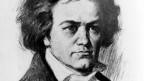 Eine Zeichnung vom Kopf van Beethovens in schwarz-weiss