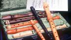 Ein offener Instrumentekoffer mit verschiedenen Flöten.