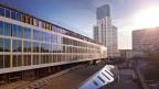 Langes. modernes Gebäude mit GLasfassade