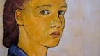 Gemälde: Das Gesicht einer jungen Frau mit ernstem Blick.