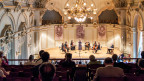 Die Tonhalle Zürich. Musiker auf der Bühne.
