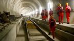 Arbeiten am Gotthard-Basistunnel.