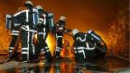 Eine Feuerwehrübung im Versuchsstollen Hagerbach, 2003.