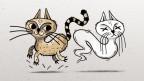 Zeichnung: Links eine braune Katze und rechts der Geist einer Katze.