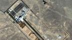 Der chinesische Weltraumbahnhof Jiuquan aus Satellitenperspektive.