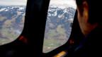 Ein Flugzeug landet in Davos.