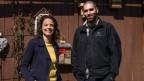 Mona Vetsch und Umweltingenieur David Huber.