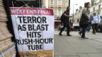 Ein Zeitungsanhang in London nach einer Explosion in Parsons Green im September 2017