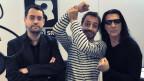Harte Männer: Schriftsteller Gion Mathias Cavelty, Rock-Special-Moderator Dominic Dillier und Manowar-Chef Joey DeMaio (von links).