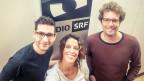 Edouard Mätzener und Adrian Hofer von der Klezmer-Band Cheibe Balagan schwärmen bei Rahel Giger von ihrem Auftritt als Filmmusiker.