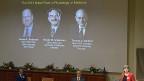 Die drei Medizin-Nobelpreisträger 2013 - anlässlich der Medienkonferenz in Schweden an die Wand projeziert.