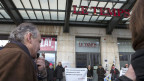 """Protest vor dem Genfer Büro von """"Le Temps"""""""