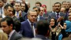 Der türkische Regierungschef Erdogan bei einem Treffer mit Anhängern seiner AKP-Partei. 25.12.2013