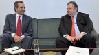 Der Chef der Nea Demokratia und der Chef von Pasok - ihre Parteien stehen beide vor dem Bankrott.