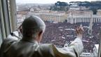 Papst Benedikt  XVI zelebriert das letzte Angelus-Gebet, 24. Februar 2013.