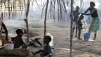 Ivorische Flüchtlinge in der Nähe der Stadt Zwedrou in Liberia.