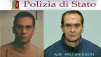 Fahndungsbild des seit 20 Jahren flüchtigen Matteo Messina Denaro. Rechts: so könnte er heute aussehen.