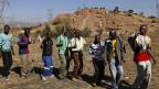 Streikende südafrikanische Minenarbeiter, am 14. Mai in einer Platin-Mine bei Rustenberg.