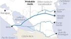 Die Karte zeigt die Route des geplanten Kanals durch Nicaragua. Der Gesetzgeber hat einem chinesischen Unternehmen grünes Licht gegeben, ein Projekt zu entwerfen.