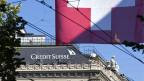 Hat der Finanzplatz Schweiz noch eine Zukunft? Logo der Credit Suisse am Paradeplatz in Zürich.