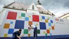 Vorbereitung des Podiums für die Aufnahme-Feierlichkeiten Kroatiens in die EU, am 30. Juni 2013 in der Hauptstadt Zagreb