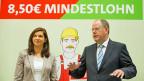 Die Kanzlerkandidatin der deutschen Grünen, Katrin Göring-Eckhardt und der Kanzlerkandidat der SPD, Peer Steinbrück.