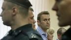 Alexej Nawalny am 18. Juli, während der Urteilsverkündung in Kirow, Russland.