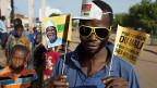 Ein Mann macht Wahlkampf für den malischen Präsidentschaftskandidaten Ibrahim Boubacar Keita, am 13. Juli in Kayes, Mali.